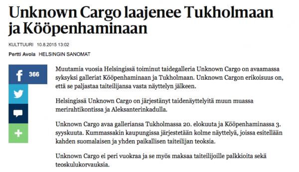 HS 10.8.2015: Unknown Cargo laajenee Tukholmaan ja Kööpenhaminaan