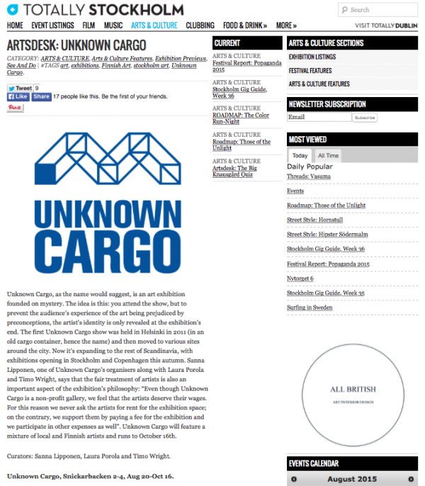 Totally Stockholm, Artsdesk: UNKNOWN CARGO