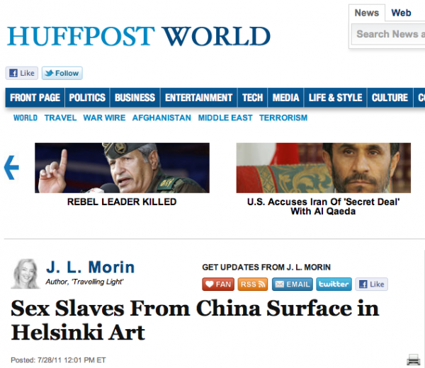 Sex slaves from China surface in Helsinki art